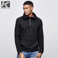 KUEGOU 2019 Autumn Cotton Solid Black Hoodie Men Fashion Hoody Hip Hop Japanese Streetwear Male Plain Hoodies Sweatshirts 1517