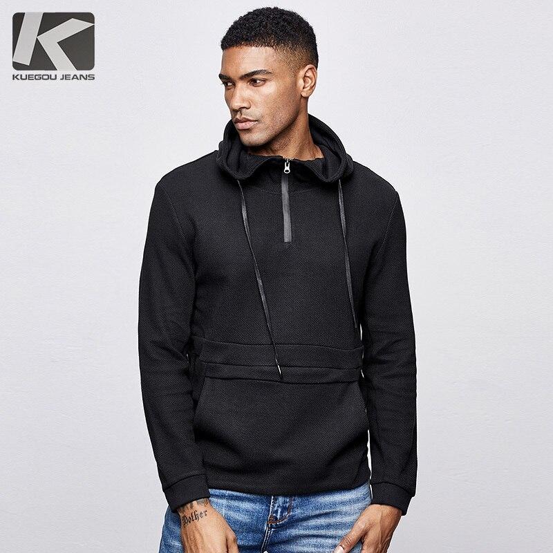 KUEGOU 2019 Herbst Baumwolle Solid Black Hoodie Männer Mode Hoody Hip Hop Japanischen Streetwear Männlichen Klar Hoodies Sweatshirts 1517-in Hoodies & Sweatshirts aus Herrenbekleidung bei  Gruppe 1