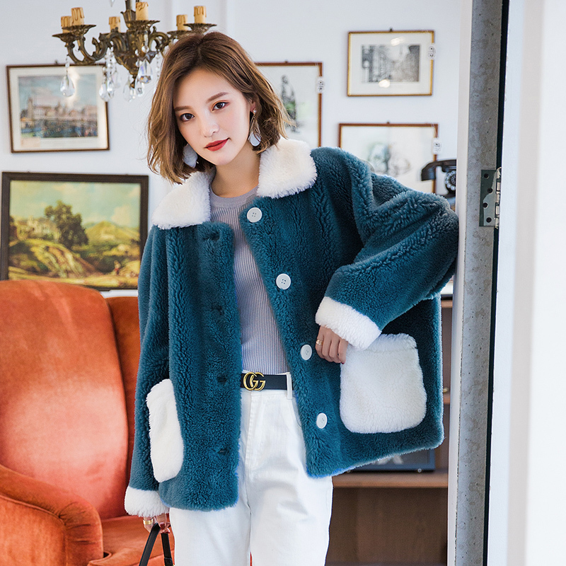 Real Fur Coat Women Autumn Winter Coat Women Clothes 2020 Korean Sheep Shearing 100% Wool Fur Tops Vintage Coat 19YT236 YY1922