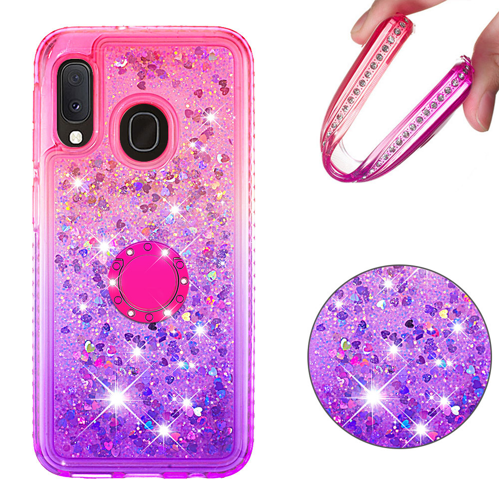 Image 3 - Phone Case for Samsung Galaxy A10e A20e A60 M40 Cover TPU Bling Giltter Quicksand Liquid Diamond Bracket Finger Ring Funda Coque-in Fitted Cases from Cellphones & Telecommunications