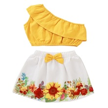 Baby Girls Outfits Baby Girl Summer Clothes New Born Cotton Outfits Baby Girl Crop Tops Printed Shorts Cotton Outfits Sets D30 cheap Wisefin Casual O-Neck Pullover 204341 Polyester Sleeveless REGULAR Fits true to size take your normal size Floral
