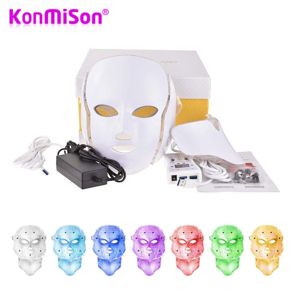 Konmison LED Facial Mask 7 Color Light Photon Tighten Pores Skin Rejuvenation Anti Acne Wrinkle Removal