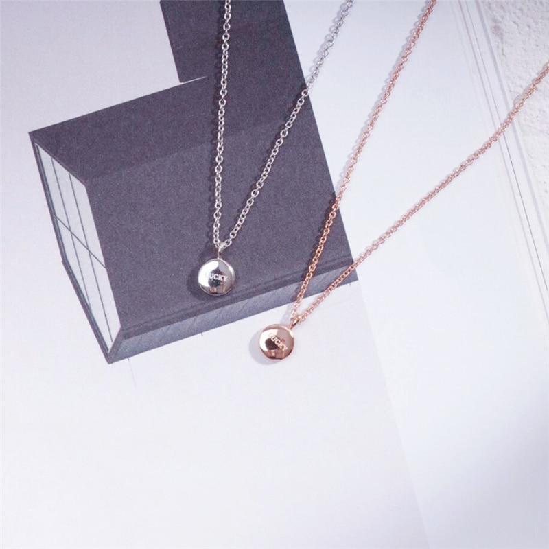 Lucky Golden Bean Clavicle Chain Korean Simple Versatile 925 Sterling Silver Temperament Female Necklace SNE042