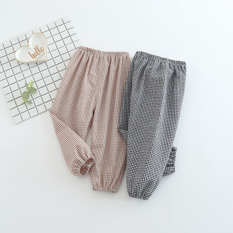 2020 New 0-24M Baby Girls Summer Anti-Mosquito Pants Sports Casual Toddler Plaid Pattern Trousers