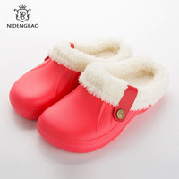 Waterproof Cotton Slippers Women Winter Home Warm Shoes Woman Size 35 45 Couples Half Heel Sildes Slippers Plush Plus Cotton