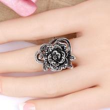 Anillos Vintage rosa flor diamantes de imitación incrustaciones mujeres dedo anillo aniversario fiesta regalo anillos para mujeres/anillos mujer/anillo los hombres/anel