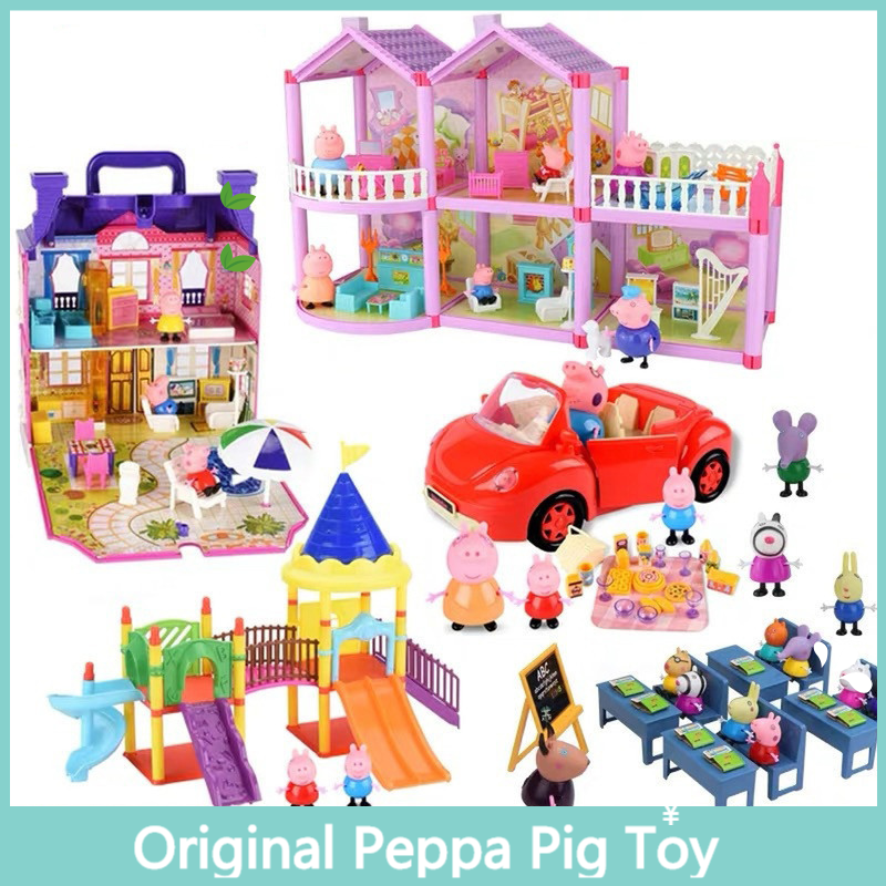 Peppa Pig Class Friends Action Figure Play House Set Toy PVC Anime Cake Figura George Family Gift Toy For Kid