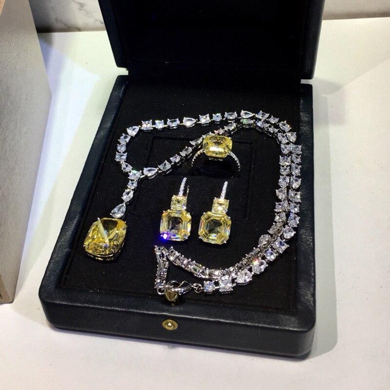 925 bijoux en argent Sterling élégant forme carrée collier en argent romantique coloré cristal gemme pierre pendentif Fine personnalisé bijoux - 6