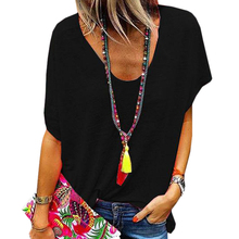 Vicabo Candy Color Tshirt Woman Summer 2020 Short Sleeve Tops Ladies V Neck Loos