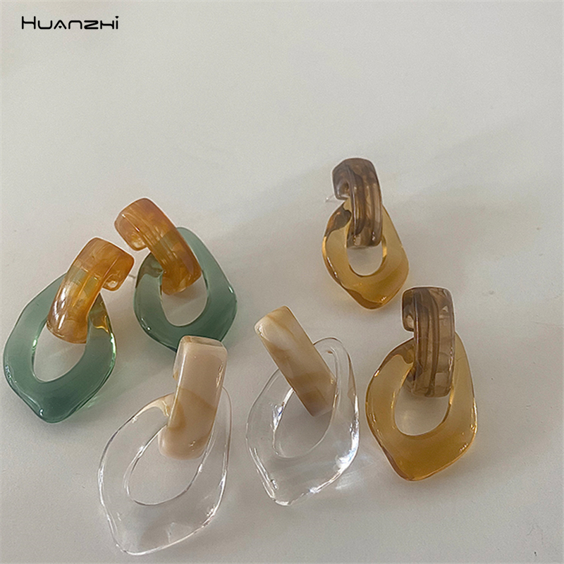 HUANZHI 2020 Colorful Transparent Clear Resin Acrylic Water Drop Earrings Geometric Hollow Drop Earrings For Women Girls Jewelry