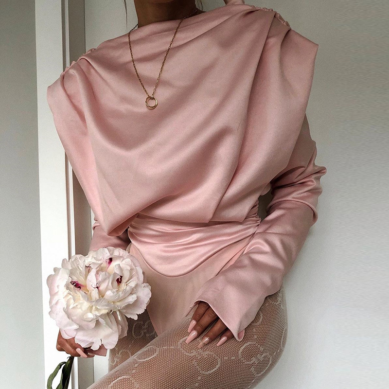 H3f831d664cbb437daae5c62230b7d5c3M - Artsu Elegant Satin Pink Blouse Long Sleeve Bodysuits Tops Women Spring New Romper Mujer Ladies Cute Shirts ASJU60703