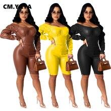 CM.YAYA – combinaison en Faux cuir pour femmes, épaules dénudées, Sexy, soirée en boîte de nuit, combinaison une pièce, moulante, automne