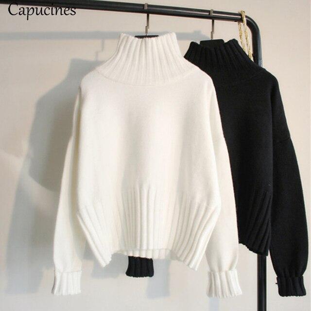 สีขาวผู้หญิงเสื้อกันหนาวเสื้อกันหนาว 2019 ฤดูใบไม้ร่วงฤดูหนาวความยืดหยุ่นสูง Ribbed ถักหญิงหลวมเสื้อกันหนาว