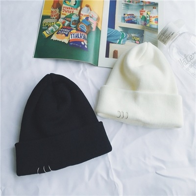 Winter Warm Knitted Caps Fashionable Metal Ring Buckled Hat Knitted Caps Knitted Hat Winter Women Warm Casual Chapeau Femme