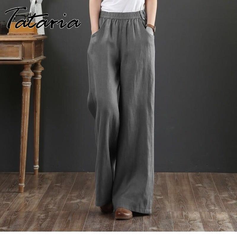Женские хлопковые льняные брюки свободного покроя размера плюс с высокой талией оранжевые свободные брюки с широкими штанинами женские се...