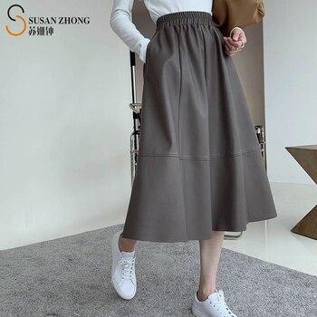 elastic waist scallop hem textured skirt Women Skirt Female Elegant Romantic Casual A-Line Full Pu Elastic Waist Raw Hem Spliced Ankle-Length Solid Pockets Faux Leather