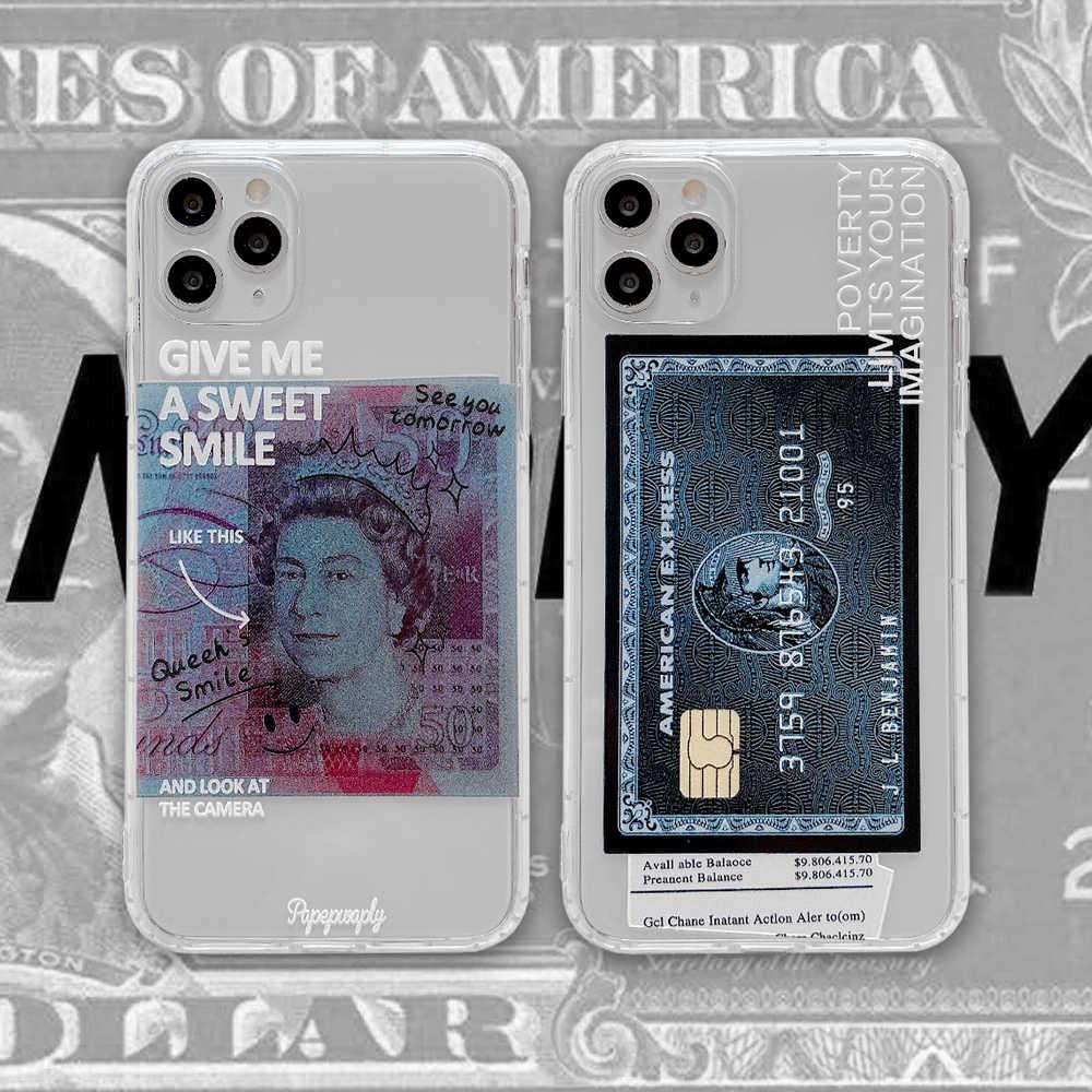 インアメリカンエキスプレスクレジットカードカード透明ソフトシリコンiphone 7 8 プラス 7 プラス 8 × xr xs 11 プロマックス電話fundas