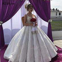 Major Beading Pearls Ball Gown Wedding Dresses  Satin Appliques Lace Vintage Bridal Dress Up Plus Size vestido de noiva