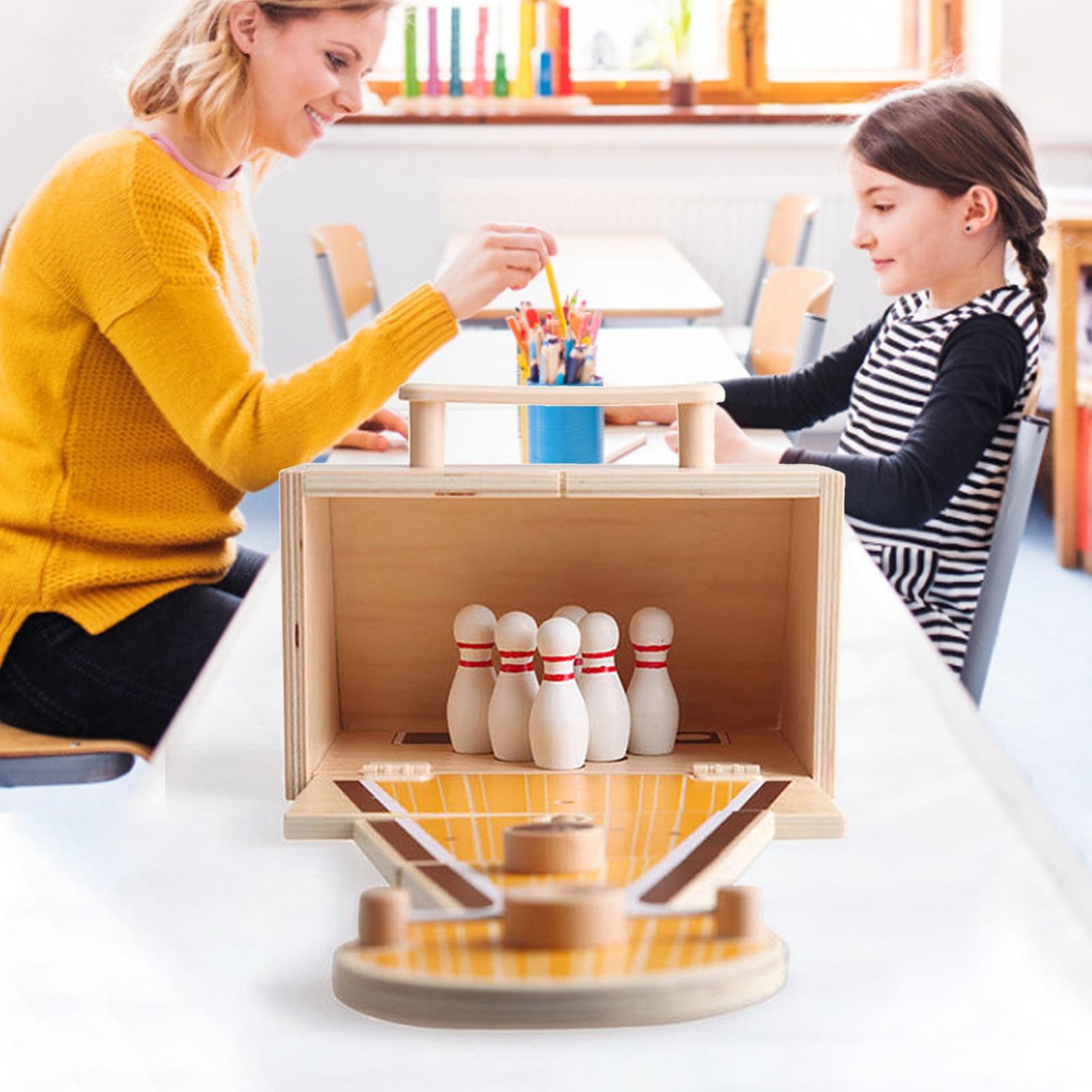Children's Foldable Desktop Mini Bowling Set Toy Indoor Portable Wooden Desktop Mini Bowling Game Educational Toy