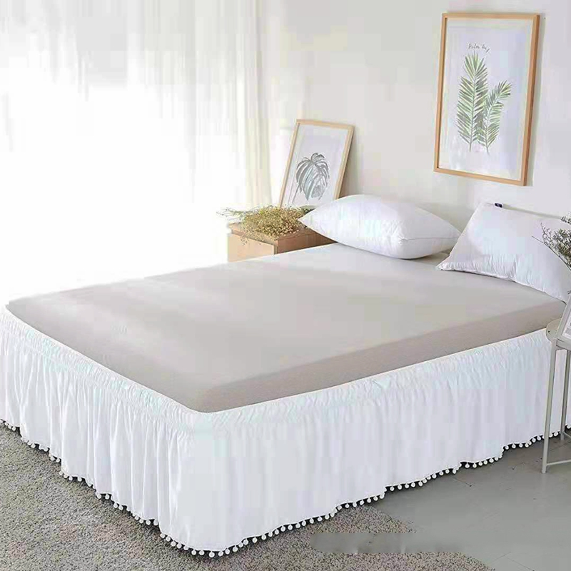 Bed Skirt White Wrap Around Elastic Bed Shirts Without Bed Surface Bed Skirts Twin/Full/Queen/King 40cm Height Home Hotel Use#/