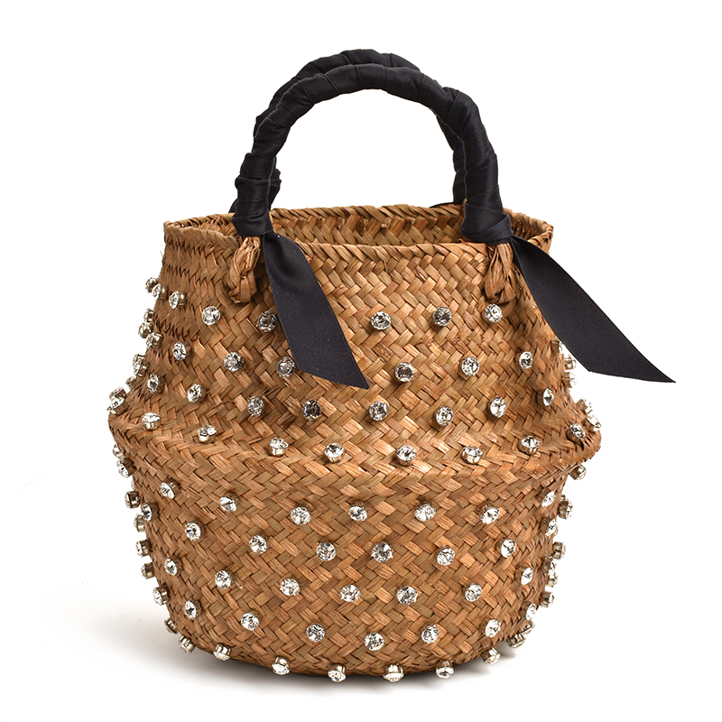 Woman Vacation Bag Embellished Straw Bag Ladies Woven Seaweed Bucket Diamond Bag Designer Hot Pearl Handbags