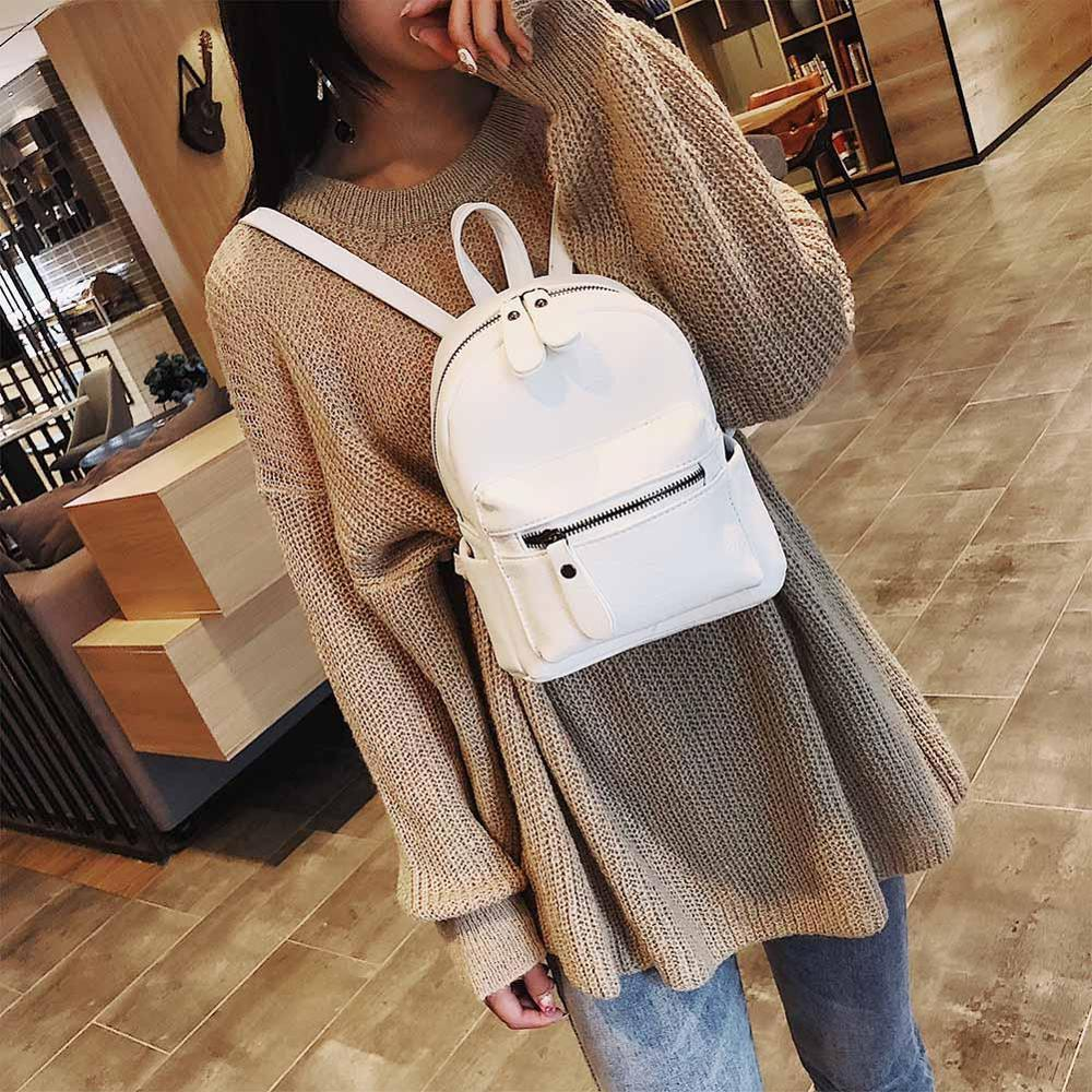 Fashion Girls Preppy Style Mini Backpack Teenage PU Leather Travel Bags Rucksack Women Fashion Solid Backpack Mochila Feminina