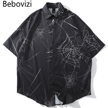 Bebovizi New Designer Spider Web Print Short Sleeve Hawaiian Shirt Summer Men Casual Hip Hop Streetwear Oversized Black Shirt summer new short sleeved shirt men fashion print casual hawaiian shirt man streetwear trend wild hip hop loose camo shirt m xl