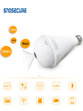 SNOSECURE 1080P WiFi Light Sensor Monitor E27 Bulb Bluetooth Music Bulb with Remote Monitoring IP Camera Decorative Lamp