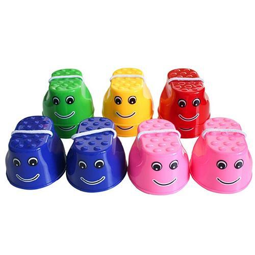 1 Pair Plastic Balance Coordination Game Toy Jumping Feet Stilts For Children Child Stilt Smile Stilt Outdoor Toys