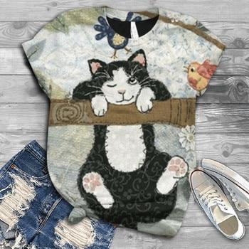 Plus Size Women t shirt Short Sleeve 3D Animal Printed O-Neck Tops Tee tshirt women Blusas футболка женская fashionable round neck short sleeve plus size printed dress for women