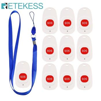 10 Uds. Botón de llamada de emergencia Retekess TH001 transmisor SOS llamada inalámbrica buscapersonas para el paciente de La Clínica Elederly