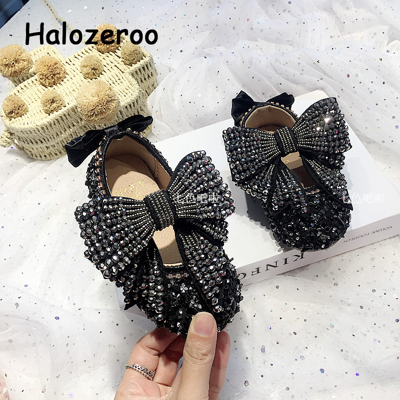 Autumn New Kids Princess Shoes Baby Girls Bow Shoes Children Rhinestone Flats Toddler Sweet Brand Shoes Dance Fashion Mary Jane