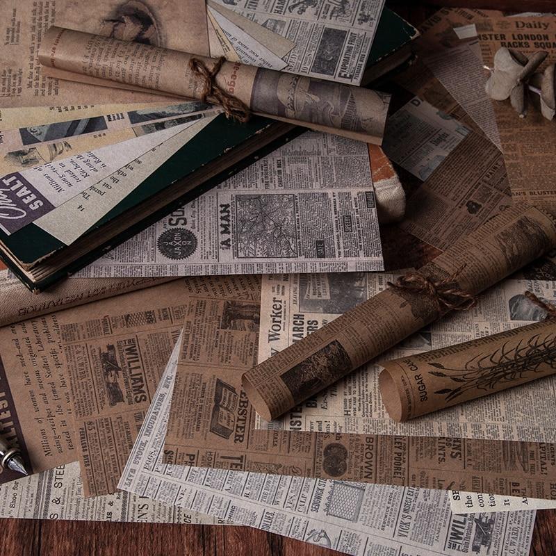 Yoofun 60 levha antika kitapçı serisi eski gazete malzemesi kağıt mermi günlük Scrapbooking dekor arka plan kağıt