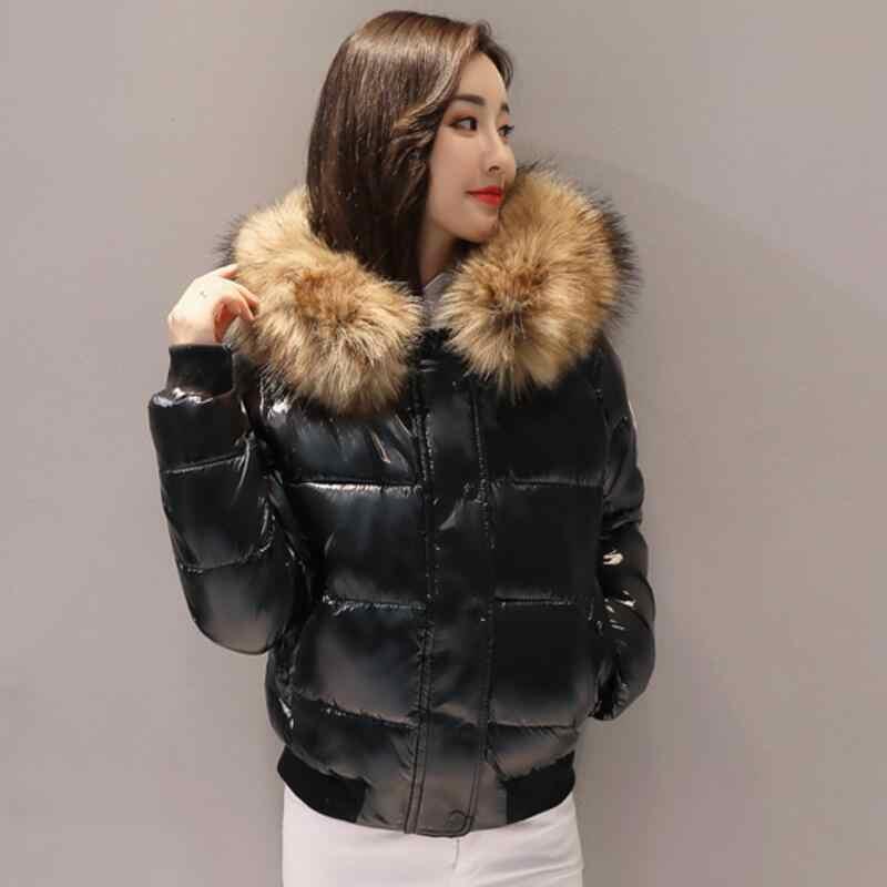 Sztuczne futro parki kobiety dół kurtki 2019 kurtka zimowa kobiety krótki płaszcz zimowa odzież na śnieg błyszcząca kurtka damska wodoodporne parki