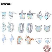 WOSTU orecchini in argento Sterling 925 opale gatto unicorno cuore orecchini opale blu per donna gioielli in argento 925 originali