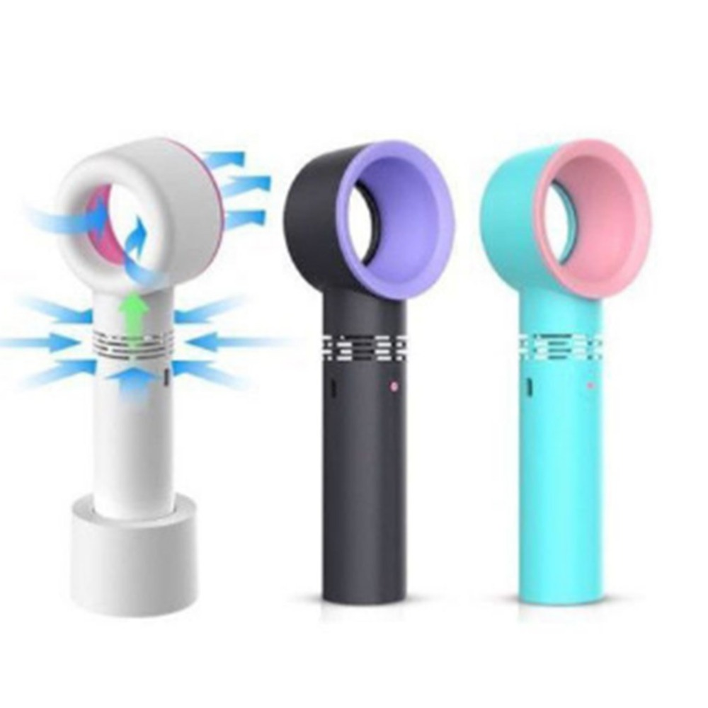 Zero 9 USB Rechargeable Portable Bladeless Fan Handheld Mini Cooler No Leaf Handy Fan With 3 Fan Speed Level LED Indicator