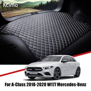 Leather Car Trunk Mat Benz Carpet Tail Cargo Liner For Mercedes Benz A Class 2018 2019 2020 Trunk Boot Mat Rear V177 Liners Pad