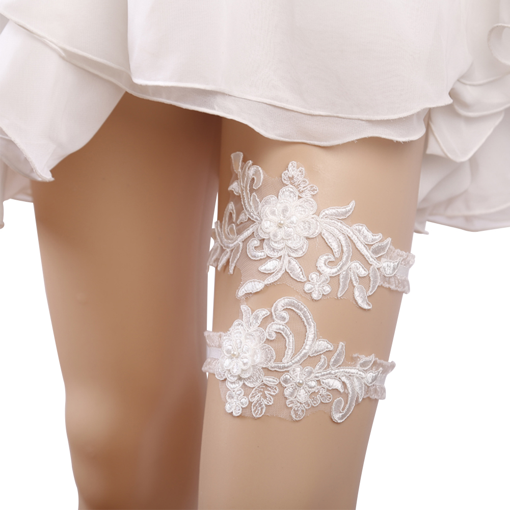 Women Sexy Suspenders White Lace Embroidery Garters Dress Accessories Garter Legs Circle