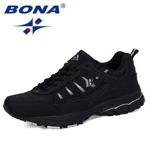 Image 4 - BONA 2019 Yeni Tasarımcı Açık Erkekler koşu ayakkabıları Inek Bölünmüş Koşu Yürüyüş spor ayakkabı Dantel up Athietic Spor Ayakkabı Adam Moda