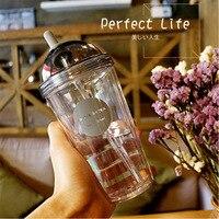 Пластиковые кофейные чашки с крышками и соломинкой для холодного кофейного сока Bubble Boba Smoothie Soda Коктейльная Вечеринка и чай 320 мл