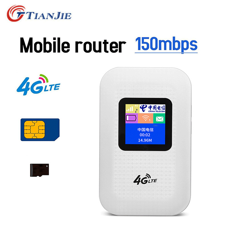 TIANJIE Unlocked 3G/4G Wifi Router with SIM Card Slot CAT4 Pocket LTE 150Mbps mobile Broadband Wireless hotspot WiFi Router
