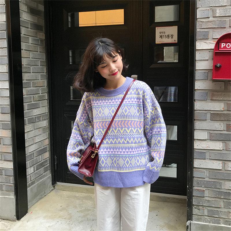 Women's Sweaters Japanese Kawaii Ulzzang Retro Colorblock Geometric Sweater Female Korean Harajuku Clothing For Women