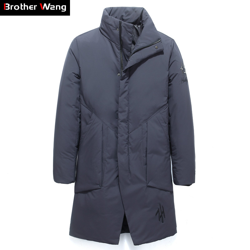 2019 Winter New Men White Duck   Down   Stand Collar   Down   Jacket Business Fashion Embroidery Thicken Warm Long Parka and   Coats   Male