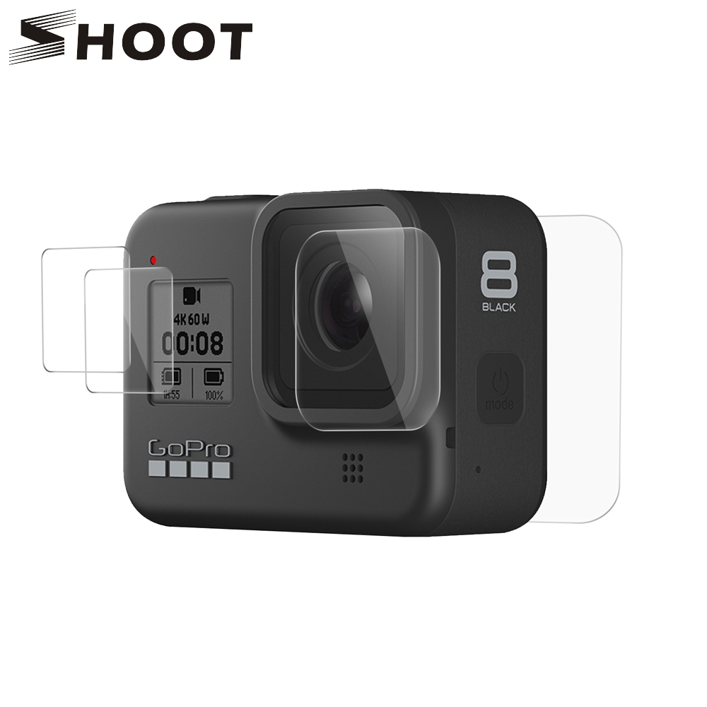 SHOOT For GoPro Hero 8 Black Tempered Glass Screen Protector Lens Protection Protective Film For Gopro8 Go Pro 8 Accessories
