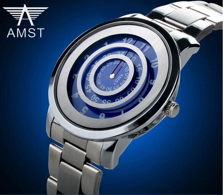 2020 Watch men Quartz movement fashion simple designer round dial creative watches popular stainless steel clock AMST1040