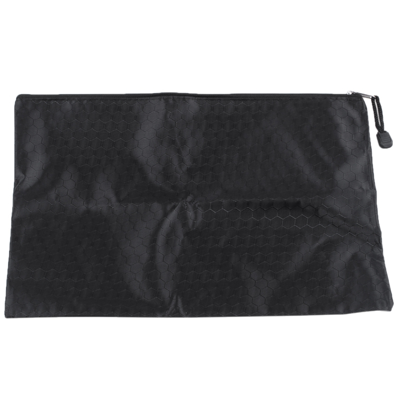 Black Nylon Hex Pattern Document Bag Zippered A4 Paper Pouch