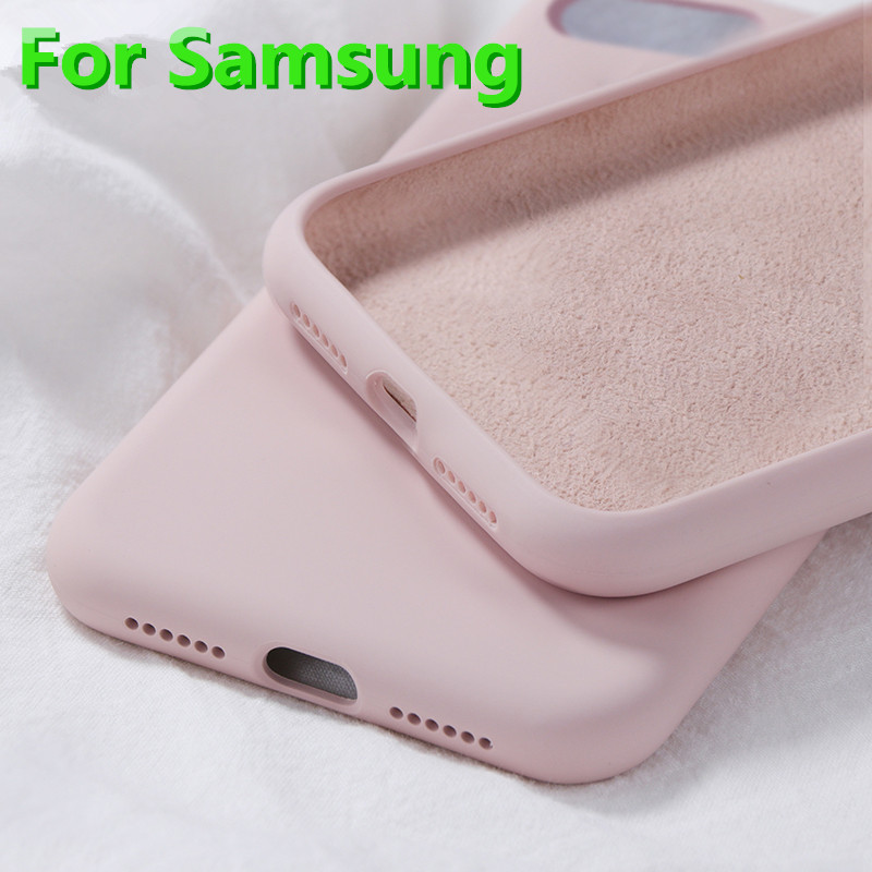 Soft Liquid Silicone <font><b>Case</b></font> For <font><b>Samsung</b></font> Galaxy A10 A20 A30 A40 A50 A70 M10 M20 M30 J4 J6 J8 A6 2018 Note8 9 S8 S9 S10 Plus S10e image