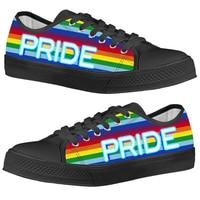 INSTANTARTS Rainbow Flags Pride Pattern Man Low Top Canvas Shoea Vucanized Autumn Sneakers Men Comfort Casual Tenis Masculino|Men's Vulcanize Shoes|   -