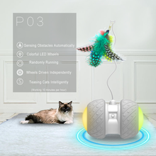 Electronic Pet Cat Toy Smart Automatic Cat Teaser with LED Wheels Rechargeable Flash Rolling Colorful Light Cat Sticker