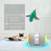 電子ペットの猫のおもちゃスマート自動猫ティーザーledホイール充電式フラッシュローリングカラフルな光猫ステッカー